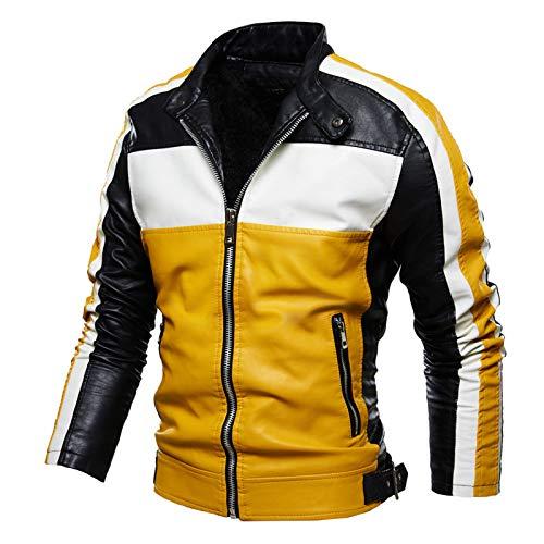 Mr.BaoLong & Miss.GO Giacca da Uomo in Pelle di Grandi Dimensioni Autunno E Inverno Giacca Abbinata Ai Colori Giacca da Moto Giacca da Uomo Giacca Moda Abbigliamento in Pelle di Tendenza