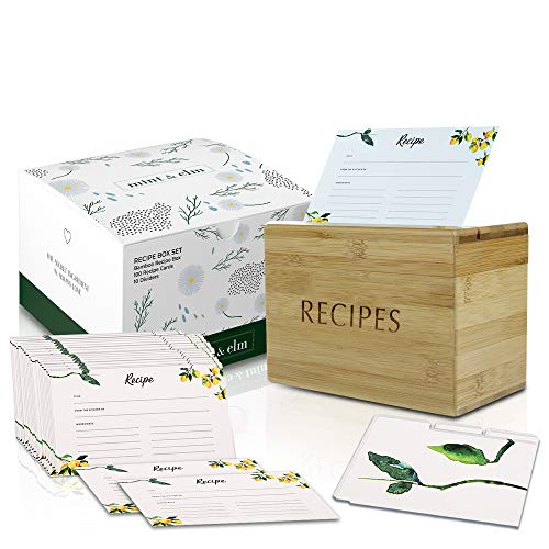 Mint & Elm Recipe Box with 100 Cards and 10 Dividers - Recipe Organizer Includes Plastic Holder for...
