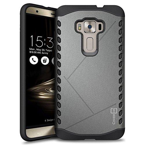 "Asus Zenfone 3 Case (5.5"") ZE552KL, CoverON [Paladin Series] Slim Fit Hard Protective Modern Style Phone Case for Asus Zenfone 3 (5.5"") - Gunmetal Grey"