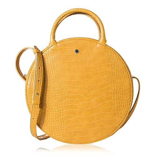 The Lovely Tote Co. Women's Fashion Crocodile Circle Crossbody Bag,Mustard