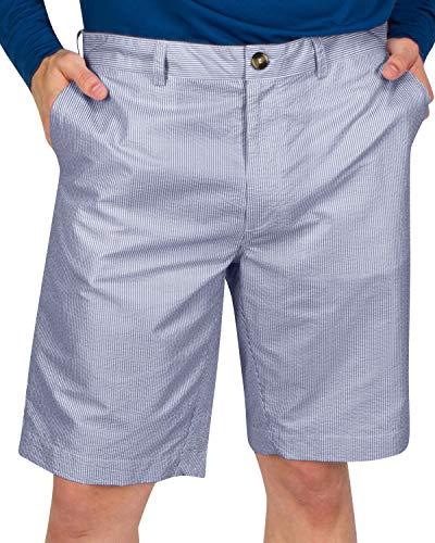 Three Sixty Six Seersucker Golf Short for Men - Quick Dry Casual Walk Shorts - 10 Inch Inseam Navy Blue