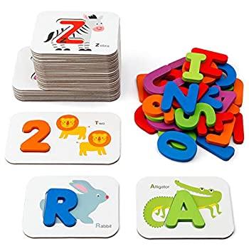 Coogam Numbers and Alphabets Flash Cards Set - ABC Wooden Letters and Numbers Animal Card Board Matching Puzzle Game Montessori Educational Toys Gift for Kids Age 3 4 5 Preschool and Up Years