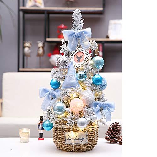 ALXDR 24Inch Artificial del Árbol De Navidad/Pre-Lit Nieve Flocado Pino Decoración con La Cadena De Luz LED De Bola/Navidad, En La Canasta Base,Azul