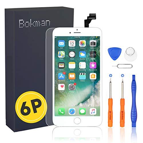 Bokman Schermo Display LCD per iPhone 6 Plus Bianca, Touch Screen Digitizer Parti di Ricambio con Strumenti di Riparazione