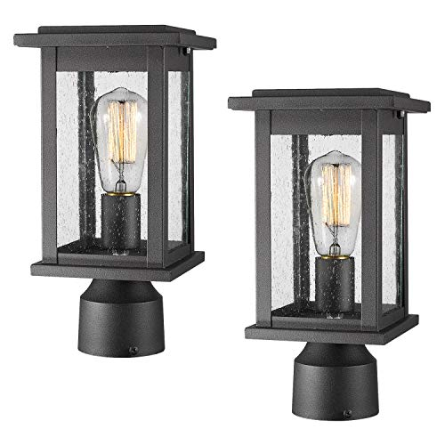 Emliviar Outdoor Post Light Fixtures 2 Pack, Exterior Pillar Light in Black Finish with Seeded Glass, 1803EW1-P-2PK