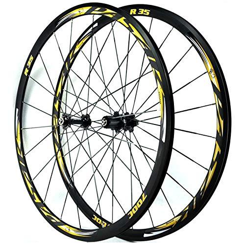 ZNND 700C Rennrad Hinterrad Vorderrad Laufrad Fahrrad Laufradsatz 4 Lager C/V-Bremse Schnellspanner 30mm Doppelwandige Ultraleichte Felge 7-12 Gang (Color : Black hub Golden Logo)