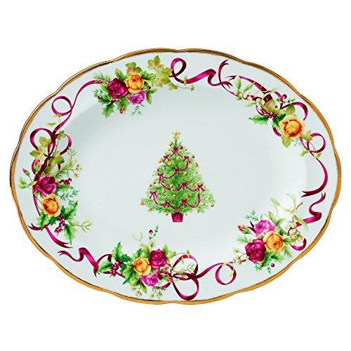 Royal Albert Old Country Roses árbol de Navidad fuente ovalada, de 13pulgadas por Royal Albert