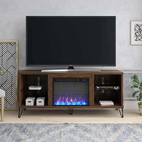 "Novogratz Concord Fireplace 70"", Walnut TV Stand"