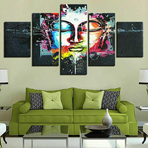Wall Art Decor Poster 5 Painting On Canvas Print Pictures 5 Pieces Colour Buddha Meditation Face Buddhism Wall Art 5 Panels Living Room 5 Piece Canvas Modern Artwork Home Decor Framed Ready To Hang