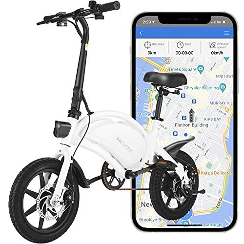 ANCHEER 500W Electric Bike Electric Commuter Bike, APP Control Folding Ebike 14'' Electric Bicycle, 20MPH Adults/Teens City Ebike and 48V 7.5Ah Battery