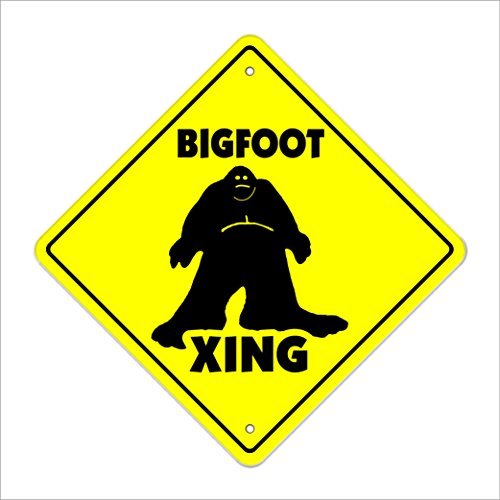 Bigfoot Crossing Sign Zone Xing | Indoor/Outdoor | 12' Tall Sasquatch Big Foot Print Monster Fantasy Big Foot ape