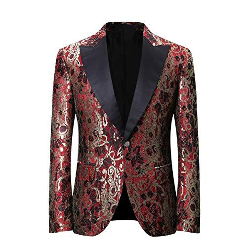 Sliktaa pak jas heren verguld patroon stof jacquard-design business casual slanke kleermaker blazer