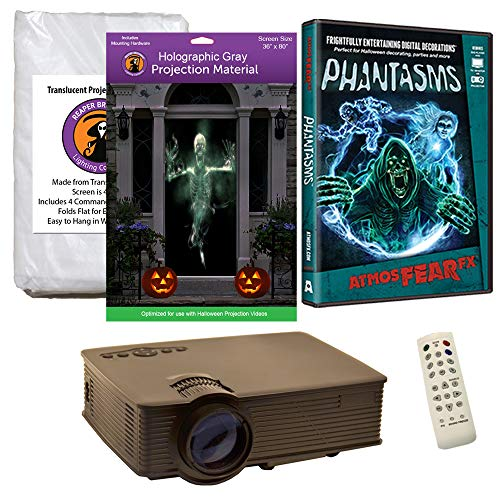 Halloween Window Projection Kit Includes 1900 Lumen Projector, 2 High Resolution Projection Screens (R/D) and AtmosFEARFx Phantasms on DVD