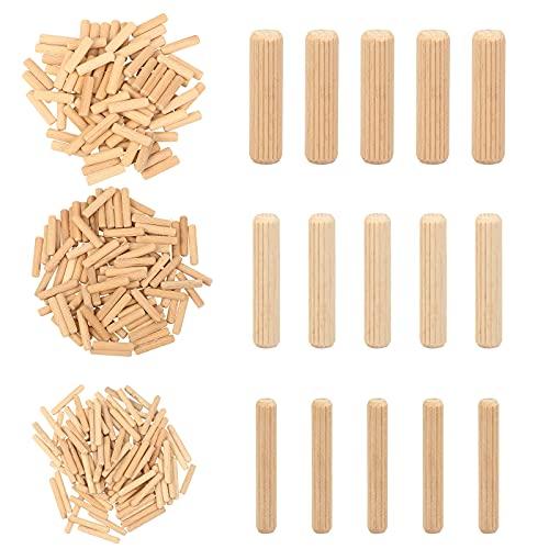 TGFIX 300PCS juego de pasadores de madera 6mm 8mm 10mm corrugado hecho de haya maciza varillas de pasador artesanales para fresadora de láminas muebles puertas y proyectos de arte clavija maes