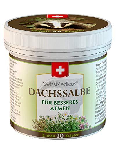 SwissMedicus DACHSSALBE - dachsfett - salbe - Enthält 20 Kräuter - zur Massage im Bereich von Brust - Hals - Nacken - Rücken und eventuell auch Stirn und Schläfe geeignet - 125 ml