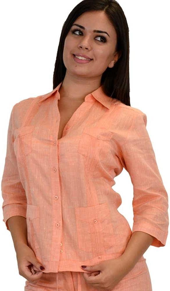 Pkt Azucar Ladies 100/% Linen Guayabera Chacavana - LLGD1085 4 Dress S - 1X