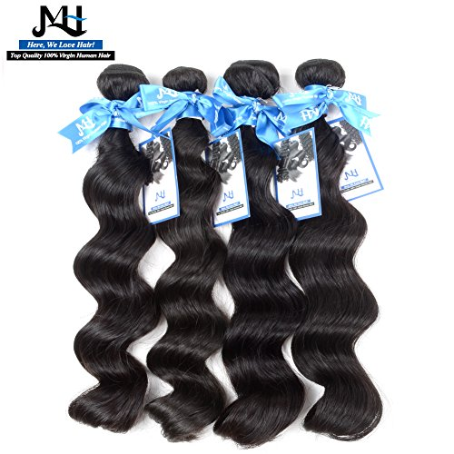 """JVH Unprocessed Brazilian Virgin Hair Loose Wave 4 Bundles Virgin Human Hair Extensions Natural Color Can Be Dyed and Bleached (20""""20""""20""""20"""")"""