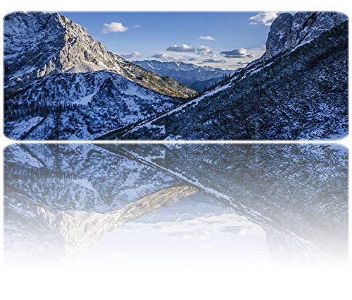 PigBangbang,Mountains Snow Clouds Winter Sunlight Non-Skid Rubber Base Ultra-Smooth Surface Gaming Mouse Pad (31.5 X 11.8) Stitched Edges
