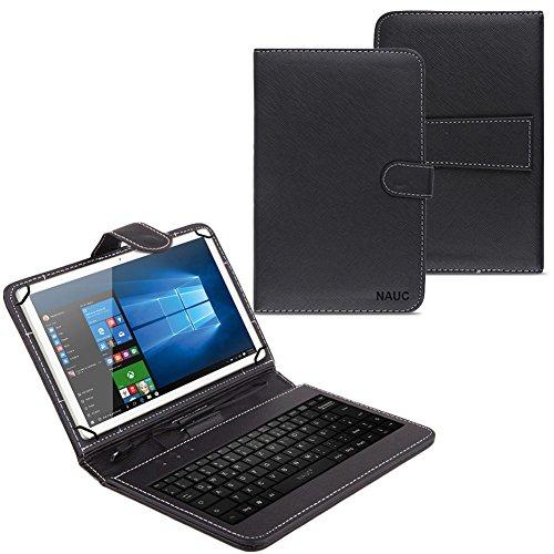 NAUC Hülle Tasche Keyboard Hülle für Tablet Tastatur QWERTZ Standfunktion Micro USB Schutz Cover mit Standfunktion & Magnetverschluss, Tablet Modell für:Archos Copper 101C