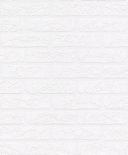 rasch Relief-Tapete auf Papier, Stein-Muster, weiß, 309627, Mehrfarbig