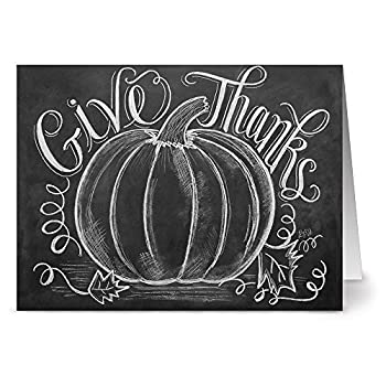 Note Card Cafe Thanksgiving Card with Envelopes   24 Pack   Blank Inside Glossy Finish   Give Thanks   for Holidays Fall Autumn Presents Pumpkin Rustic Chalkboard