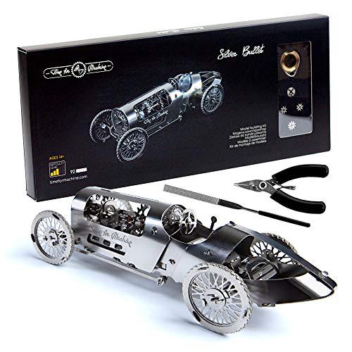 Modellauto Kit - 3D Modellbausatz Silver Bullet - bewegliches Aufziehauto Modell - 3D Puzzle für Erwachsene - Metall DIY Kit - schönes Metall Modellauto Sammlerstück - DIY Bausatz eines Oldtimers