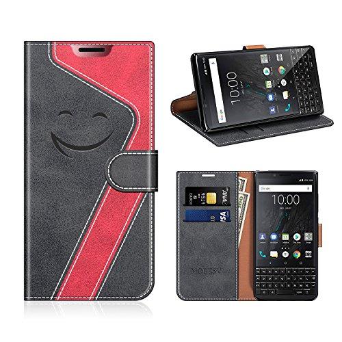 MOBESV Smiley BlackBerry Key2 Hülle Leder, BlackBerry Key2 Tasche Lederhülle/Wallet Hülle/Ledertasche Handyhülle/Schutzhülle für BlackBerry Key2, Schwarz/Rot