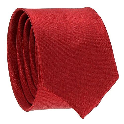 Cravate Fine Bordeaux - Cravate Homme Coupe Slim Moderne - 5cm à la Pointe - Couleur Unie - Accessoire Chemise pour Mariage, Cérémonie