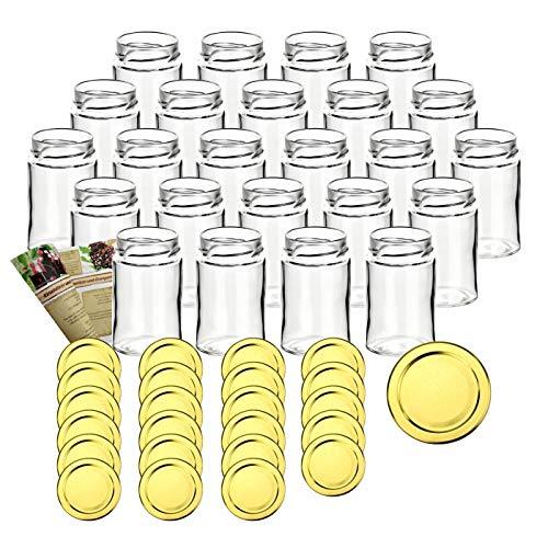 gouveo 24er Set leere Klassik Einmachgläser 212 ml inkl. Drehverschluss Gold und Flaschendiscount-Rezeptbroschüre, Vorratsgläser, Marmeladengläser, Einkochgläser, Gewürzgläser, Einweckgläser (24er Set, 212 ml Gold)