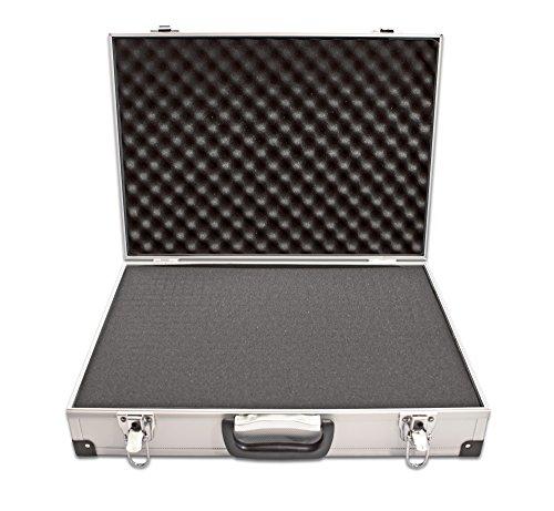 PeakTech 7260 – Universal Koffer für Messgeräte, Robuster Alu Tragekoffer, Werkzeug Aufbewahrung, Würfelschaum Platten, Schaumstoff Polsterung, Abschließbar, Staubschutz, Drohnen, L - 370 x 230 x 80mm