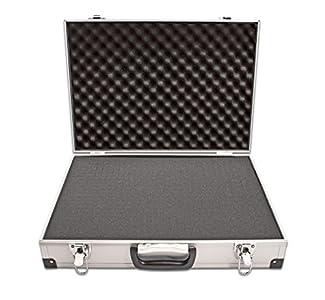 PeakTech 7260 – Estuche de transporte de aluminio resistente para instrumentos y herramientas de medición, acolchado de espuma, candado, de alta calidad, a prueba de polvo, L - 370x80x230 mm