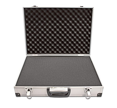 PeakTech 7260 - Carrying Case for Measurement Instrument, Resistant Aluminum Case, Tool Compartment, Foam Padding, with Padlock, High Quality Case, Dustproof, L - 370 x 80 x 230 mm