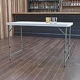 Flash Furniture 24x48 DAD-YCZ-122Z-2-GG: 4-Foot Height Adjustable Bi Granite White Plastic Folding Table