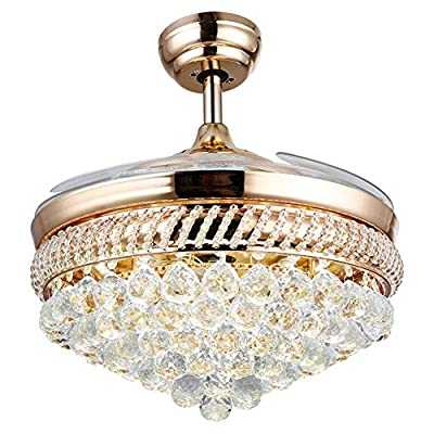 Healer 42 Inch Crystal Ceiling Fan with Light and Remote Control 3 Lights Level, Modern Luxury Invisible Retractable LED Chandelier Lighting for Dining/Living Room Bedroom Restaurant