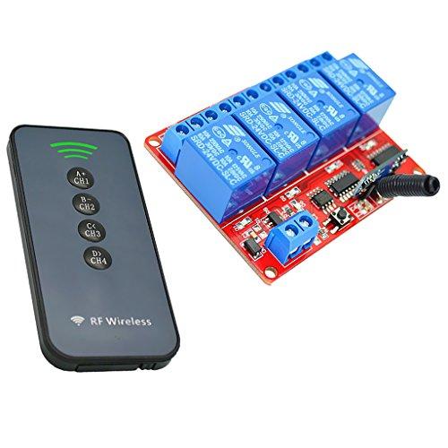 MagiDeal 4 Kanal Infrarot Empfänger Modul Relais Modul Board + 4 Tasten Fernbedienung Schalter 24V - Ultradünne
