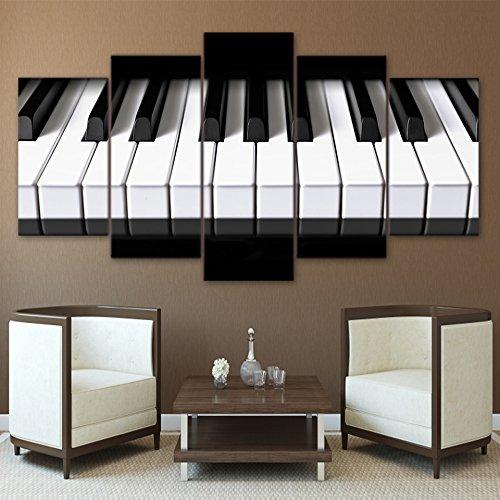 yuandp Moderne ingelijste druk modulair goedkoop 5 tabletten muziekinstrument afbeelding woonkamer muurkunstenaar thuis decoratieve piano kunstwerk canvas frameloos