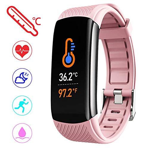 PYBBO Monitor de fitness con temperatura corporal, presión arterial, oxígeno en la sangre, monitor de sueño, monitor de ritmo cardíaco, IP67 impermeable, reloj inteligente con contador de pasos, mensaje de llamada para mujeres, hombres y niños
