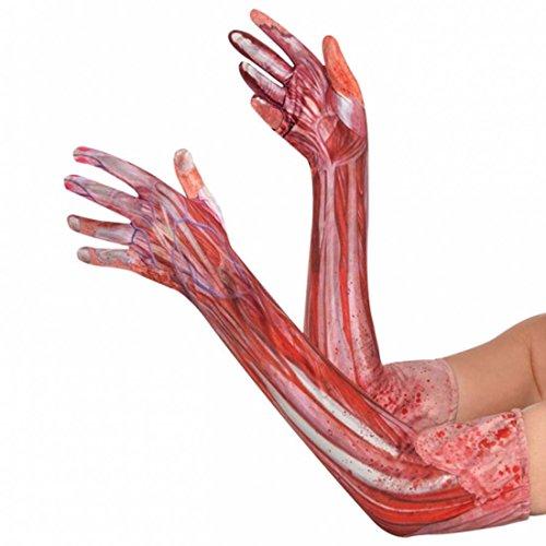 Antebrazo Humano Guante de anatomía Halloween Accesorio para Brazo ensangrentado Guantes de Miedo Músculos Huesos Fibras Cubrebrazos de Mujer