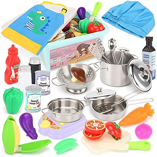 TwobeFit Giocattoli da Cucina per Bambini, 30 Pezzi Set da Cucina per Cuoco Gioco di Ruolo con pentole e padelle, Grembiule e Cappello da Cuoco, Bottiglie per conserveper Festa di Compleanno