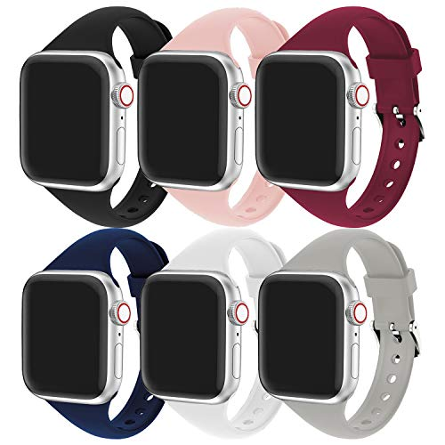 Supore 6 Pack iWatch Cinturino Compatible with Apple Watch 38mm 40mm iWatch Cinturini 42mm 44mm Women Men, Cinturino Sportiva in Slim Silicone Traspirante, Applica a Apple Watch SE Series 6 5 4 3 2 1