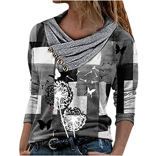 Damen Sweatshirt Beste Freunde Pullover Damen Kapuzenpullover Damen Langarmshirts Herbst Winter Langarm für Frauen mit Motiv Hemd Frauen Casual Tops Kreuz V-Ausschnitt Knöpfe Drucken Langarm Bluse