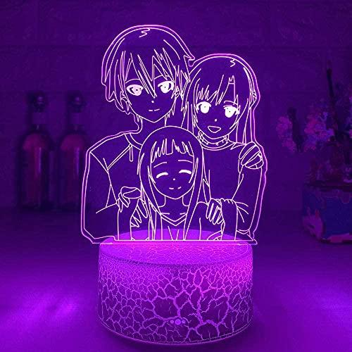 HCDZhj 3D Luz Regalo Tienda Anime Led Luz Espada Arte En Línea Para Dormitorio Decoración Noche Luz SAO Kirigaya Kazuto Lámpara De Mesa Yuuki Asuna Gift-7_Color_Touch