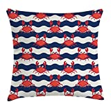 Ambesonne Crabs Throw Pillow Cushion Cover, Nautical Maritime Theme Crabs on Striped Background Illustration Print, Decorative Square Accent Pillow Case, 20' X 20', Red Blue