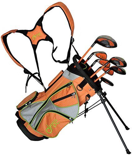 droc - Mica Series 7 PCS Juego de Club de Golf + Bolsa de golf a partir de 3 - 6 zurdos, orange, lime green, grey, black
