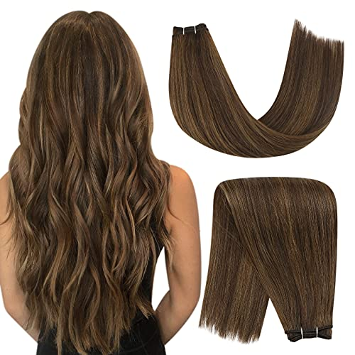 YoungSee Sew in Human Hair Extensions Dark Brown Highlight with Light Brown Double Weft Human Hair Extensions Brown Highlight Sew in Weft Human Hair Extensions 20in 100g