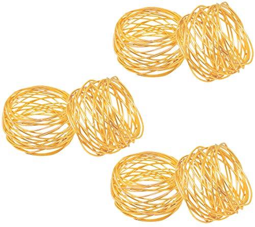SKAVIJ 6 Stück Serviettenringe Set für Ramadan, Eid, Hochzeit, Dinnerpartys, Esstisch Dekoration Handgemacht Metall Serviettenhalter (Gold)