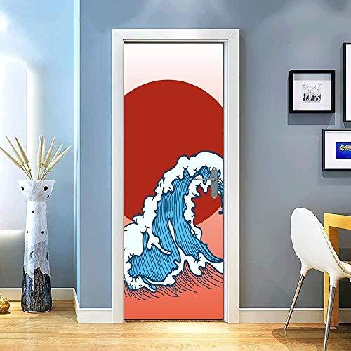 JYXJJKK Vinilos para Puertas Papel Pintado Autoadhesivo Dibujos Animados Rojo Sol Olas 77x200 CM para cocinas baños Decorativos murales para Pared 3D Door Stickers para Puertas