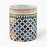 92Wear Alhambra Granada Tile Spain Spanish Colourful Architecture - Best 11 Ounce Cerámica Coffee Mug Gift
