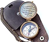 Thoreau's Go Confidently Quote Engraved Nautical Compass with Stamped Leather case, Camping Compass, Boating Compass, Gift Compass, Graduation Day Gifts