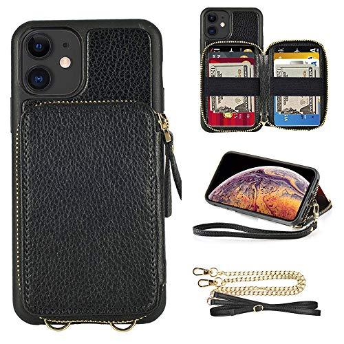 ZVE iPhone 12Mini 対応ケース 5.4インチ 財布付きケース カード入れ 背面手帳型ケースお札収納 ショルダーチェーン&ストラップ付き ショルダーカバービジネス用 大容量収納 ICカード ショルダーケース アイフォン12 ミニ高級レザーケー